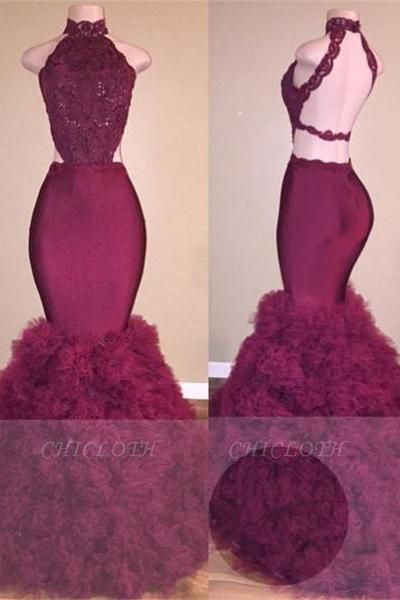 A| Chicloth Glamorous Mermaid Lace Backless Burgundy Prom Dress