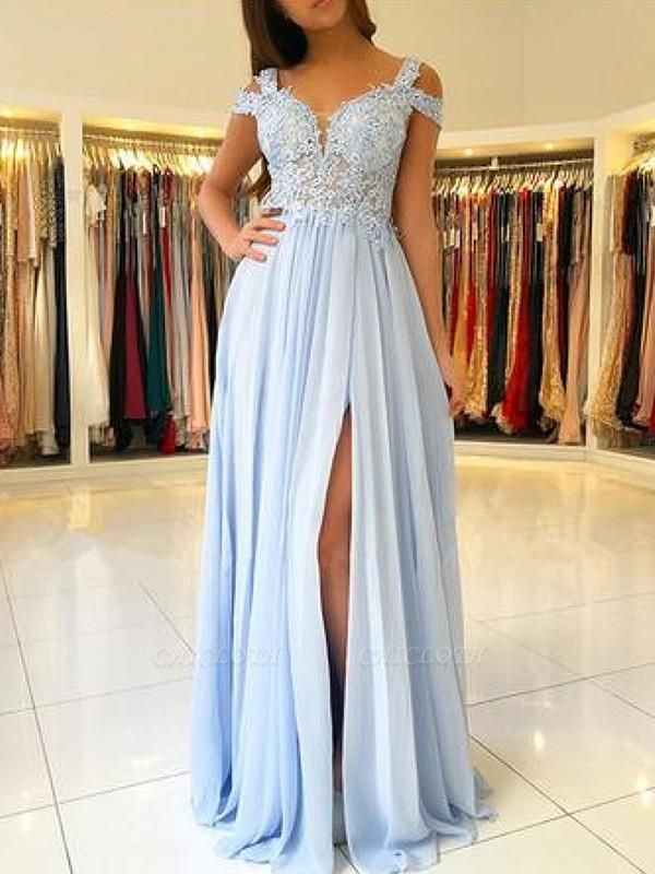 Chicloth A-Line Sleeveless Off-The-Shoulder Floor-Length With Applique Chiffon Dresses