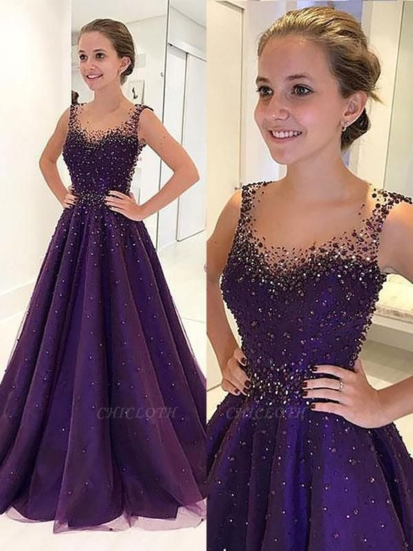 Chicloth A-Line Scoop Floor-Length Tulle Sleeveless With Beading Dresses