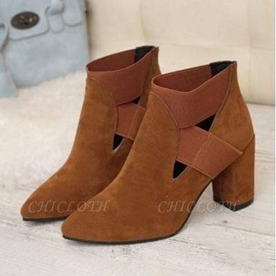 B| Chicloth Autumn Women Pointed Flock Boots