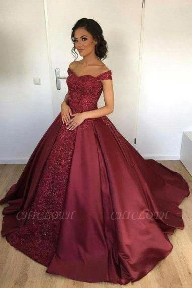 Chicloth Off-the-Shoulder Burgundy Lace Appliques Ball-Gown Evening Dress