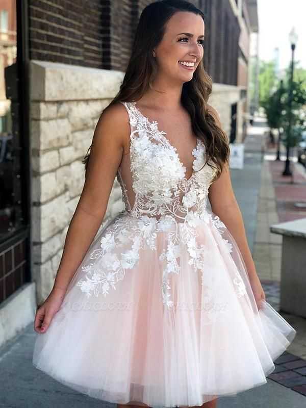 Chicloth A-Line Sleeveless V-neck Tulle With Applique Short/Mini Dresses