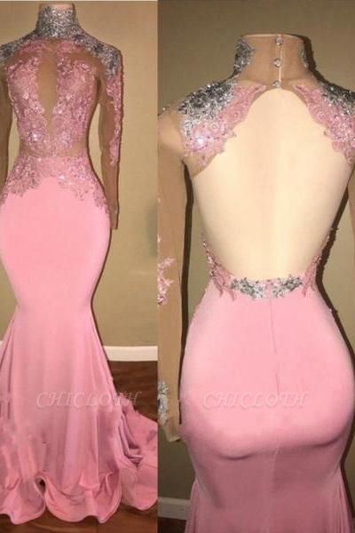 A| Chicloth Elegant Pink Mermaid Prom Dresses | High Neck Lace Appliques Beaded Evening Gowns