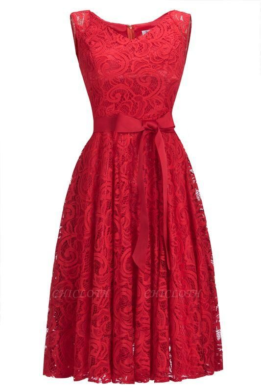 Chicloth Simple Sleeveless A-line Red Lace Dresses with Ribbon Bow
