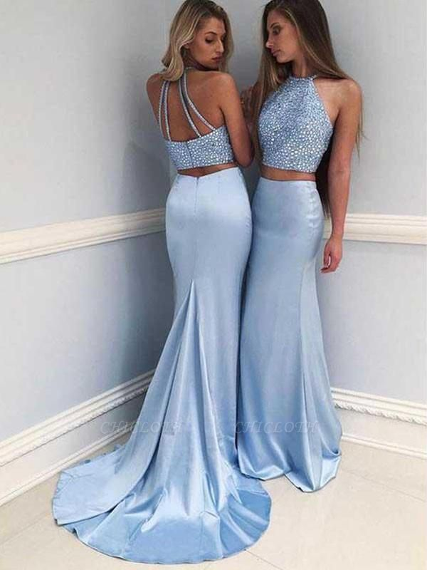Chicloth Pretty Halter Sleeveless Sweep/Brush Train With Beading Satin Two Piece Dresses