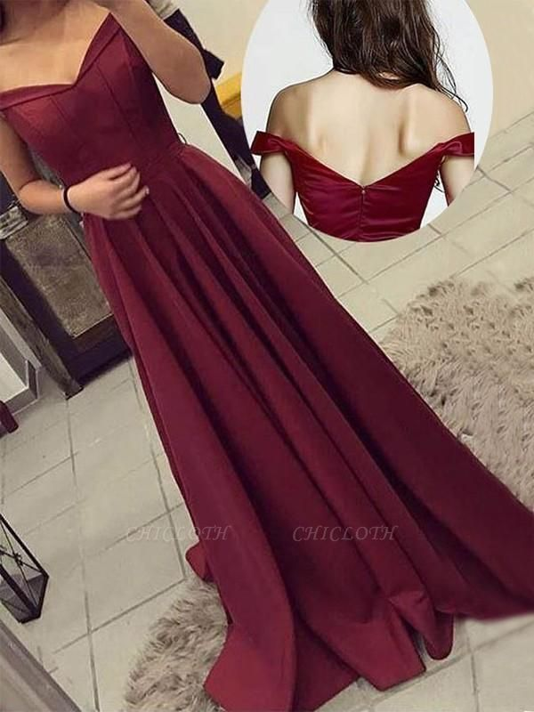 C| Chicloth A-Line Off-The-Shoulder Sleeveless Sweep/Brush Train With Ruched Satin Dresses