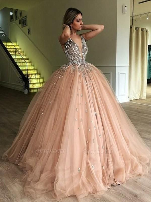 Chicloth Ball Gown V-neck Sleeveless Sweep/Brush Train With Beading Tulle Dresses
