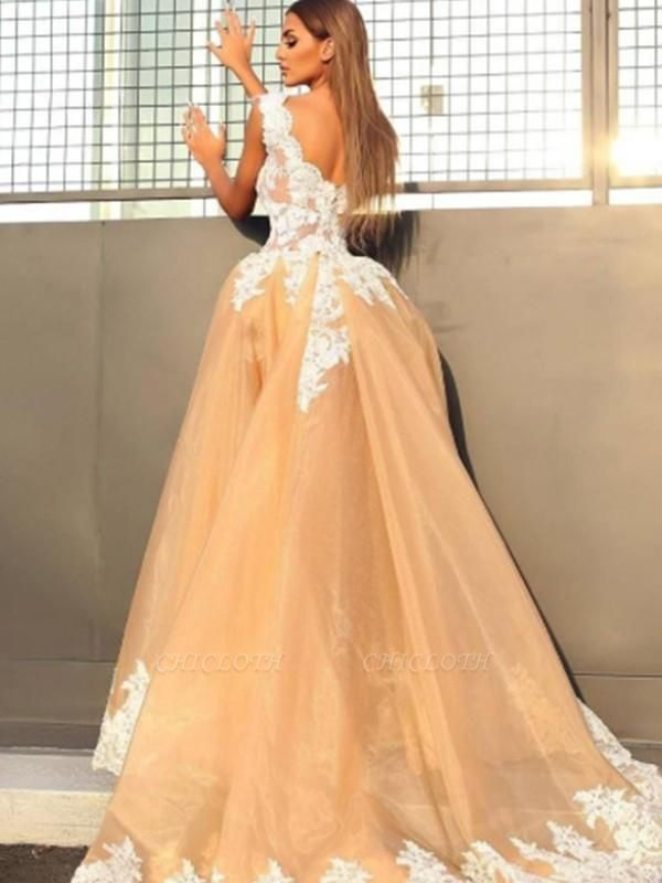 Chicloth A-Line Sleeveless V-Neck Sweep/Brush Train Lace Organza Dresses