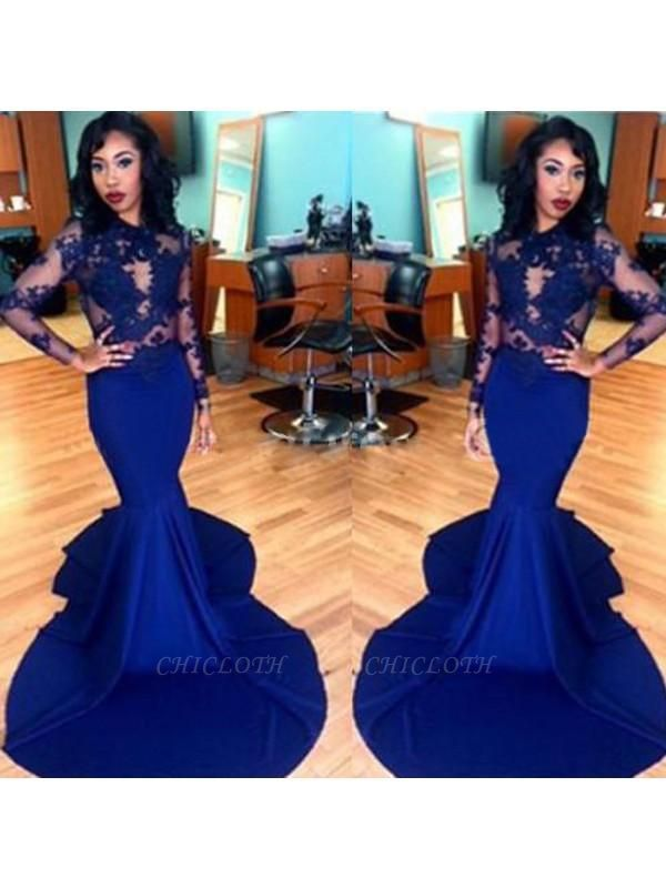 Chicloth Mermaid Satin Scoop Long Sleeves Sweep/Brush Train With Lace Dresses