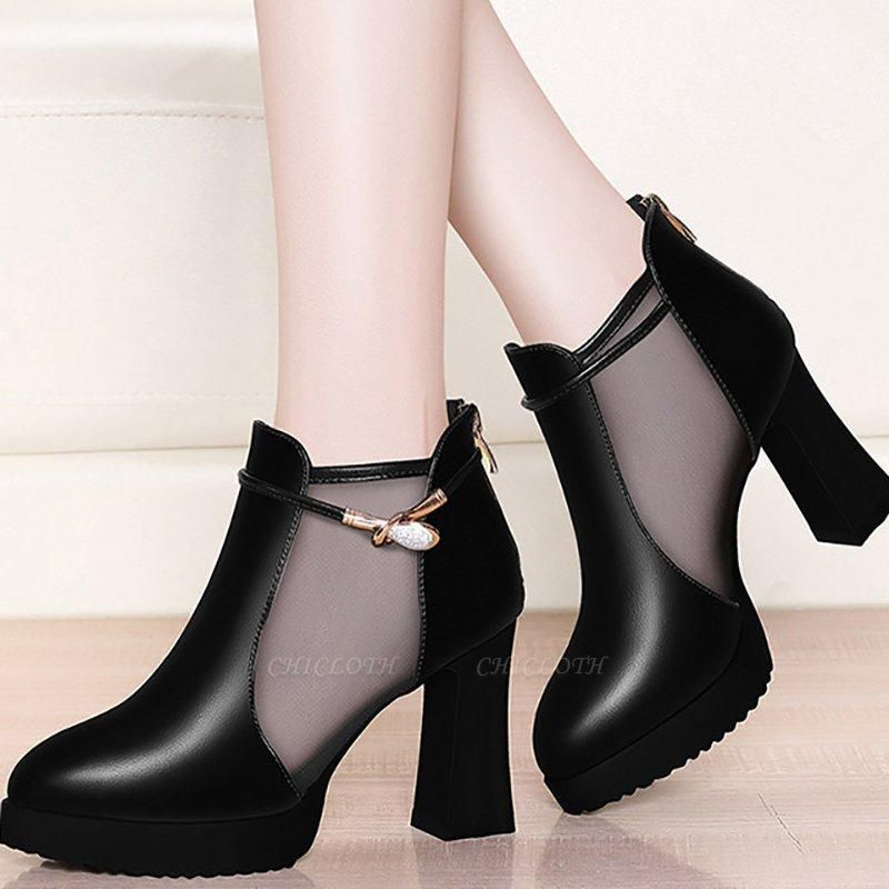 Daily Chunky Heel Buckle Pointed Toe Elegant Boots
