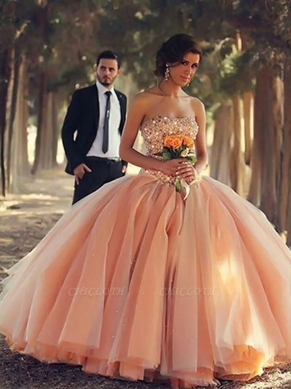 Chicloth Ball Gown Sleeveless Strapless With Beading Floor-Length Tulle Dresses
