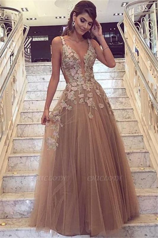 Chic Champagne Tulle Prom Dresses | Straps Lace Appliques Evening Gowns
