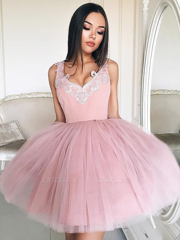 Chicloth A-Line Tulle V-neck Sleeveless Short/Mini With Lace Prom Dresses