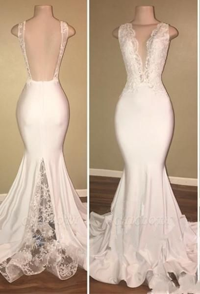 Chicloth Elegant Long Mermaid Prom Dresses | V-Neck Backless Lace Evening Gowns