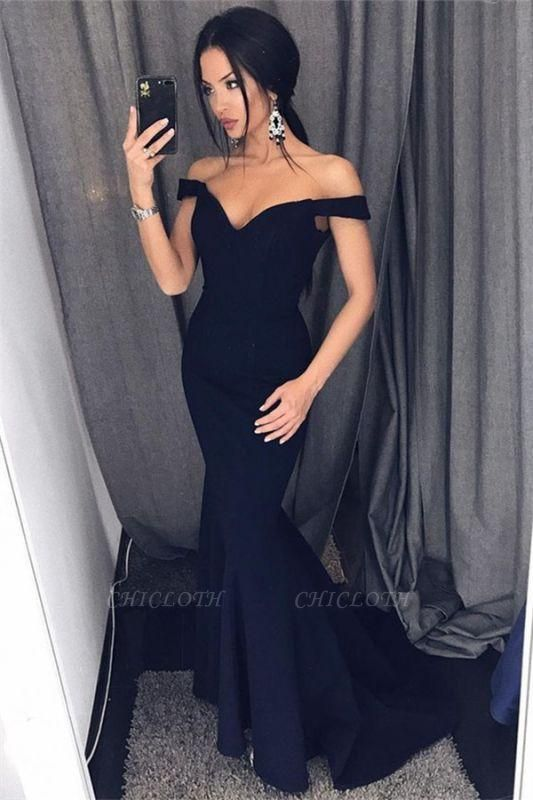 Chicloth Sexy Mermaid Evening Dresses Off-the-Shoulder V-Neck Long Prom Dresses