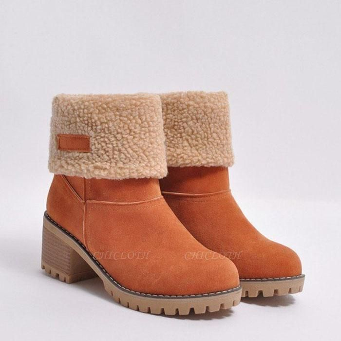 A  Chicloth Women's Winter Short Boots Round Toe Snow Boots