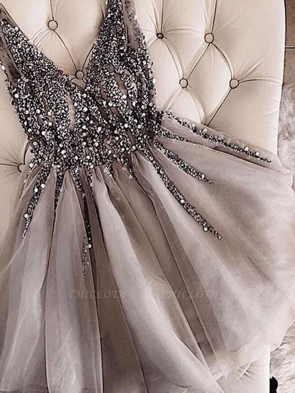 Chicloth A-Line Sleeveless V-neck Tulle With Sequin Short/Mini Dresses