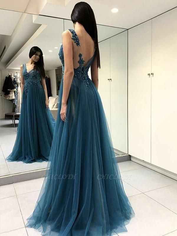 Chicloth A-Line Sleeveless V-Neck Floor-Length With Applique Tulle Dresses