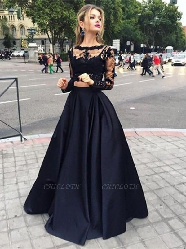Chicloth Ball Gown Satin Bateau Long Sleeves Floor-Length With Beading Dresses