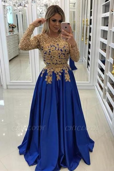 Modern Royal Blue & Gold Lace Evening Dress | Long Sleeve Party Gown
