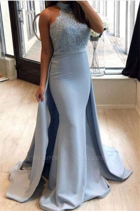 Chicloth Sexy Sheath High-Neck Prom Dresses | Lace Sleeveless Eveniing Dresses with Detachable Skirt