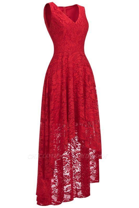 Chicloth A-line Hi-lo V-neck Sleeveless Burgundy Lace Dresses