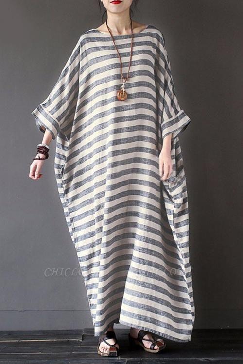 A Chicloth New Fashion Women Casual Loose Dress Striped Cotton Long Dress