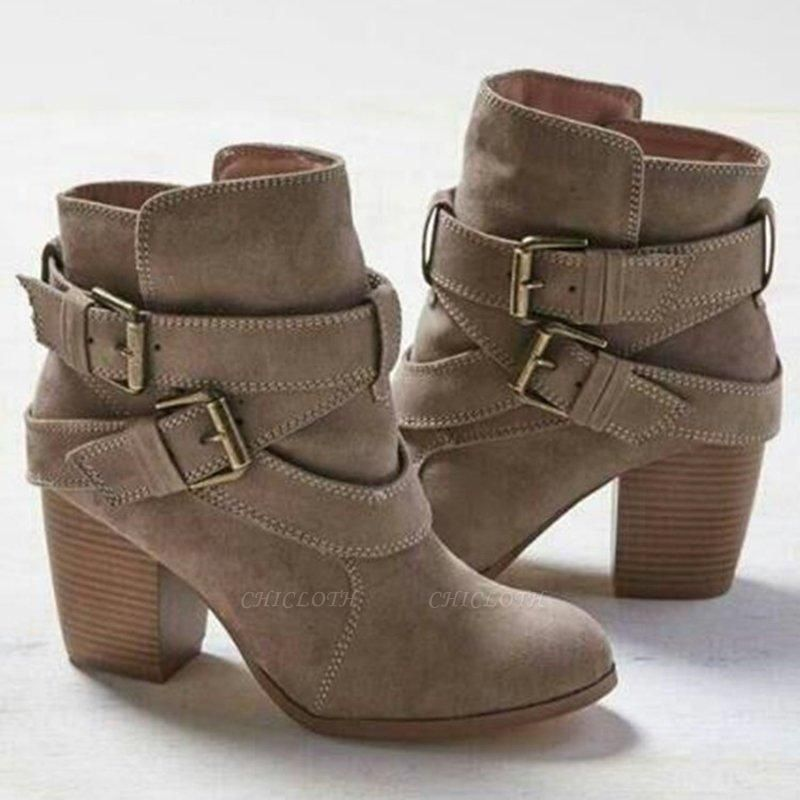 Chunky Heel Daily Buckle Suede Boots