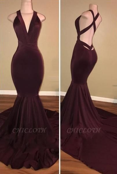 Chicloth Sexy Burgundy Mermaid Prom Dresses Crisscross Back Evening Gowns