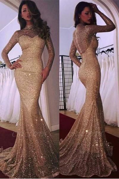 Glamorous Long Sleeve Evening Dress | 2019 Mermaid Prom Dress With Sequins