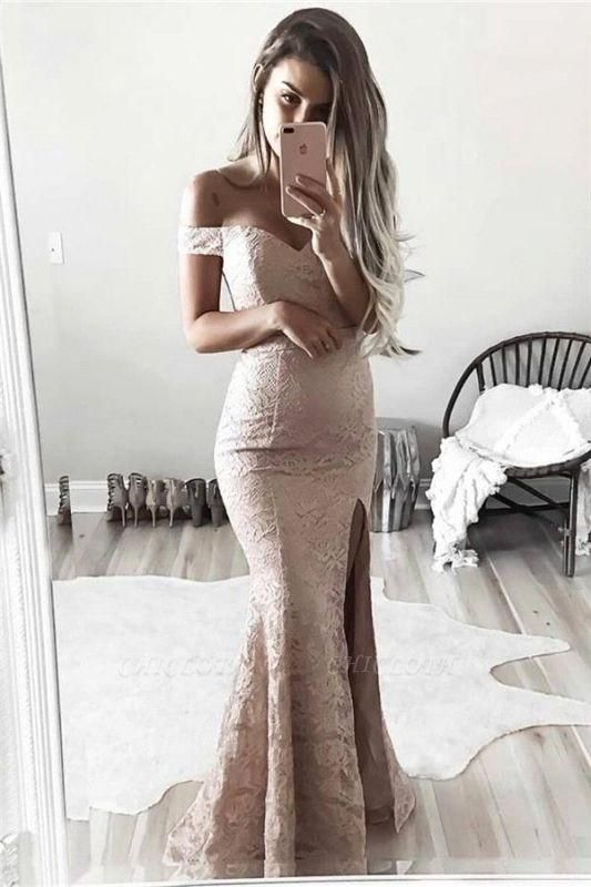 Chicloth Gorgeous Off-the-Shoulder Mermaid Lace Split Evening Dress