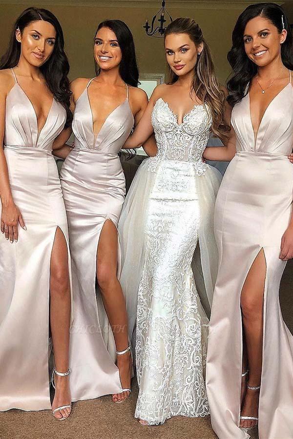 Chicloth V Neck Straps Long Maid Of Honor?Bridesmaid Dresses