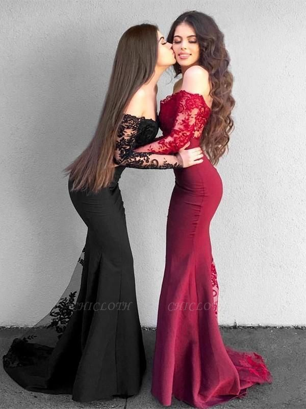 Chicloth Mermaid Long Sleeves Off-The-Shoulder Sweep/Brush Train With Applique Satin Dresses