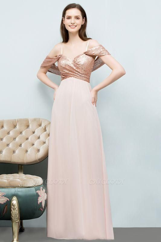 Chicloth A-line Chiffon Sequins Straps Sweetheart Sleeveless Floor-Length Bridesmaid Dresses