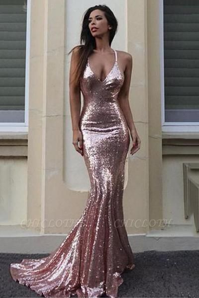 Chicloth Gorgeous Sequins V-Neck Mermaid Sequins Prom Dress