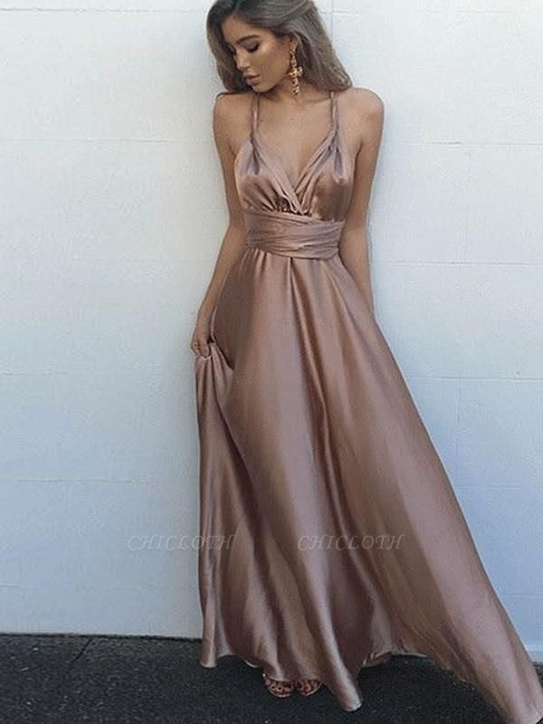 Chicloth A-Line Satin Spaghetti Straps Sleeveless Floor-Length With Sash/Ribbon/Belt Dresses
