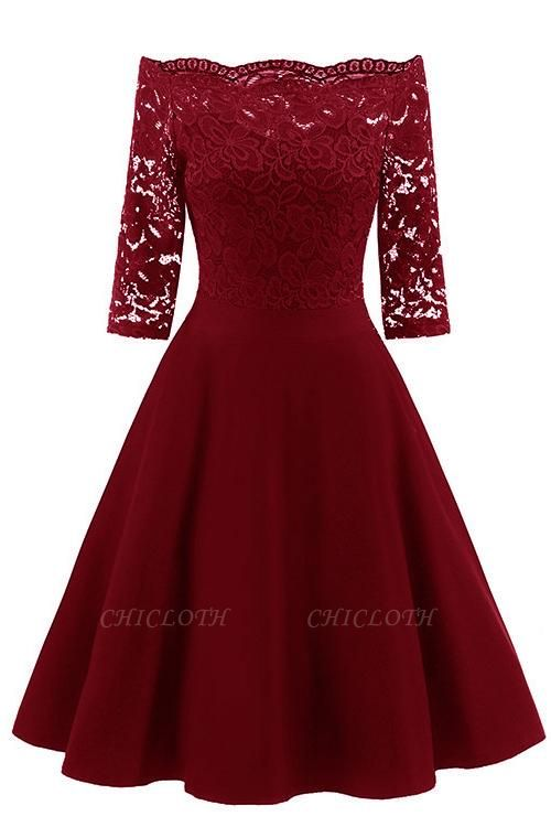 A| Chicloth Women's Lace Cocktail Evening Party Dress