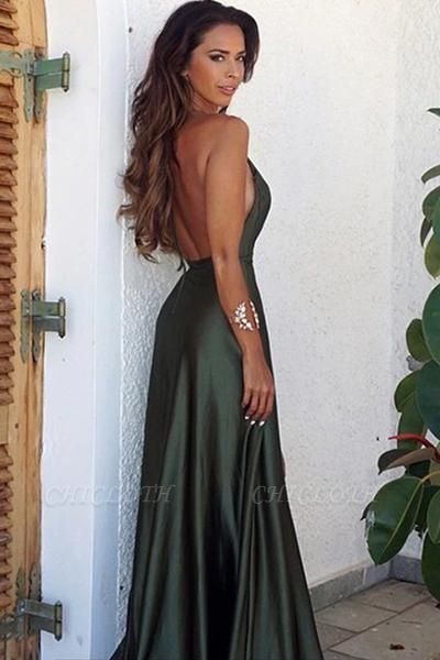 B| Chicloth Long V-Neck Backless Simple Split Elegant Prom Dress