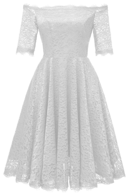 A| Chicloth White A-line Knee-length Lace Dress