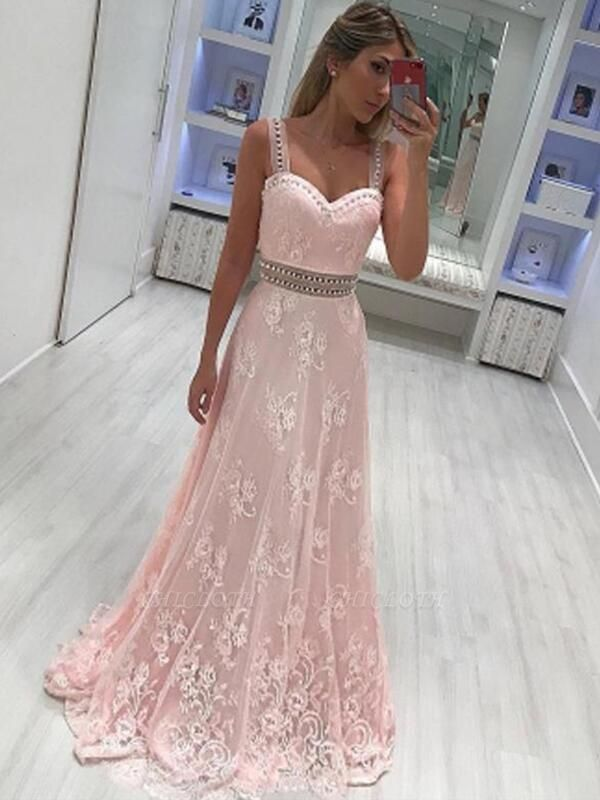 Chicloth A-Line Sweetheart Sleeveless Floor-Length With Applique Satin Dresses