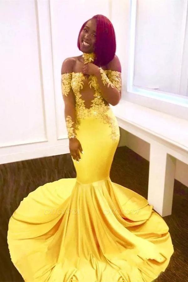A| Chicloth SCARLET | Mermaid Off-shoulder Floor Length Long Sleeves Appliqued Prom Dresses