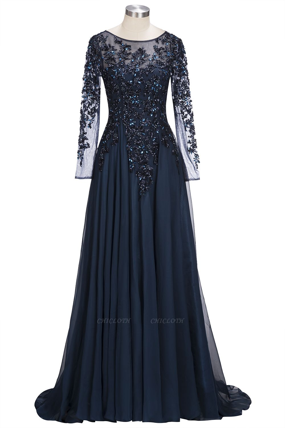 A-line Long Sleeves Crystals Tulle Floor Length Prom Dresses