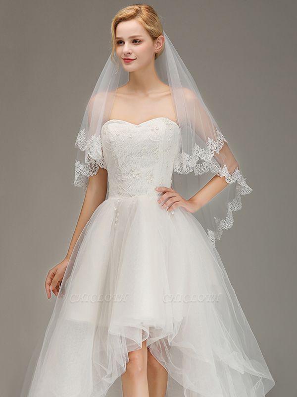White Elegant Two Layers Lace Edge Long Wedding Veil