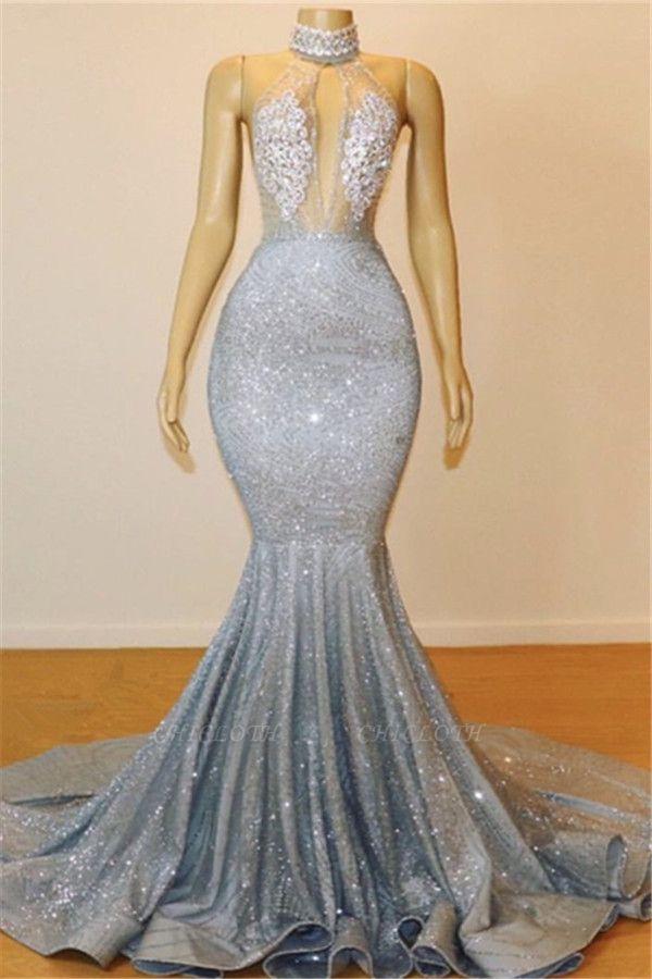 Mermaid Halter V-neck Sleeveless Backless Floor-Length Prom Dress