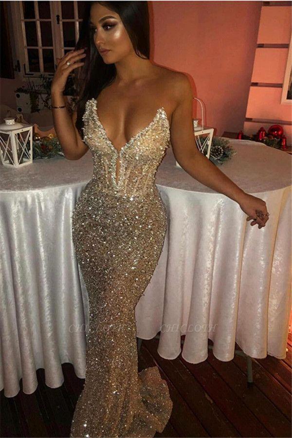 Stylish Strapless Mermaid Sleeveless Sweep Train Prom Dresses