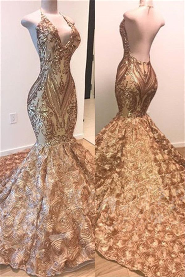Glamorous Gold Sequins Mermaid Sleeveless Floral Appliques Prom Dress