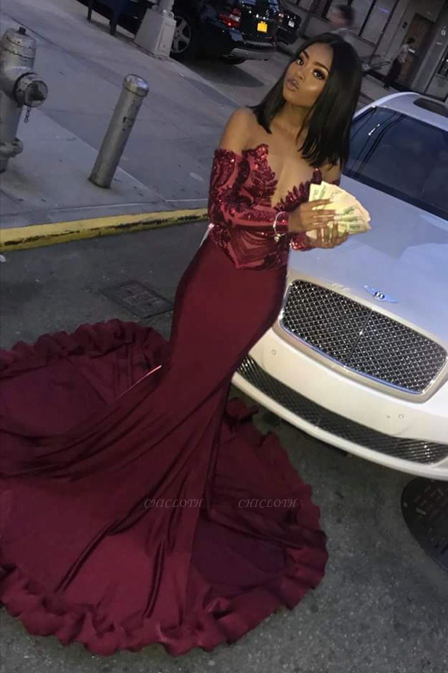Sexy Burgundy Sequins Mermaid Long Sleeves Prom Dress BC1250