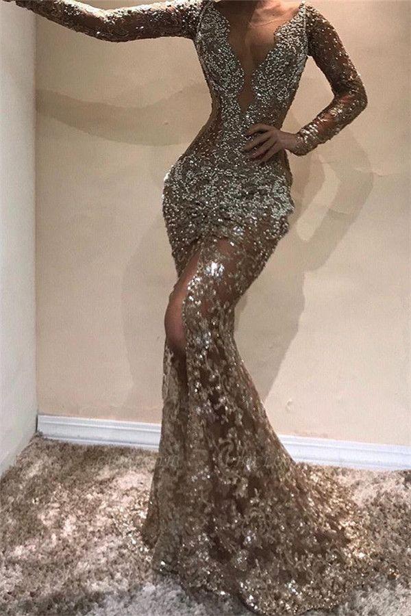 Glamorous Mermaid Sequins Peals Long Sleeves Open Back Prom Dress