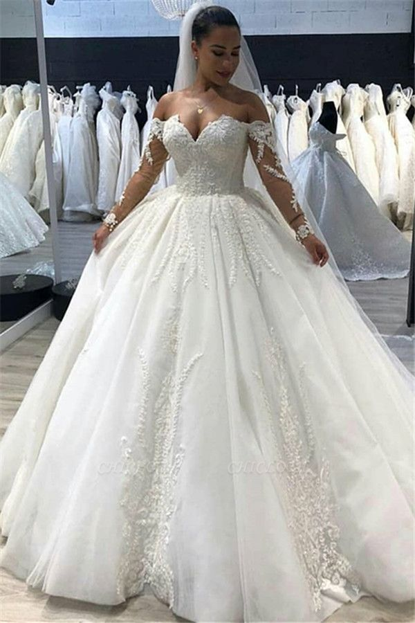 Chicloh Elegant Ball Gown Sweetheart Long Sleeves Tulle Wedding Dresses