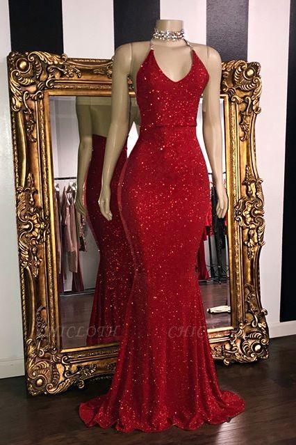 Sexy Sequins Halter Red Sleeveless Mermaid Prom Dress